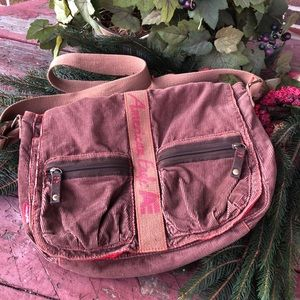 American 🦅 brown corduroy messenger bag EUC